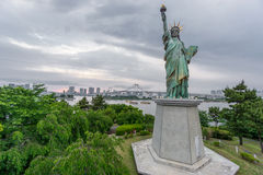 Statue of Liberty in Odaiba at sunset Royalty Free Stock Image