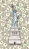Statue of Liberty - One hundred U.S. dollars background Royalty Free Stock Image