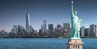 The Statue of Liberty with One World Trade Center background, Landmarks of New York City Stock Photos