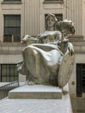 Thurgood Marshall United States Courthouse. Statue of liberty outside the Thurgood Marshall United States Courthouse Classical Revival courthouse in lower Stock Photos