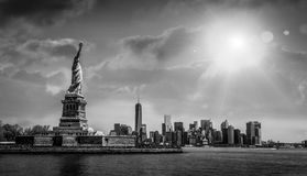 Statue of Liberty overlooking Manhattan, New York, USA. A black and white photo of the statue of Liberty overlooking Manhattan, New York, USA Stock Photo