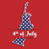 Statue of Liberty paper cutting in card pocket with label of 4th of July. United States symbol in national colors with Royalty Free Stock Photography