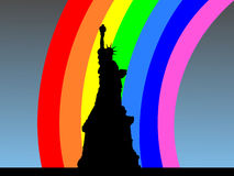 Statue of Liberty with rainbow Stock Images