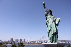 Statue of Liberty and Rainbow Bridge - Odaiba, Tokyo Stock Photography