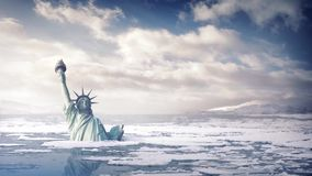 Statue Of Liberty In Rising Sea Levels. The Statue of Liberty submerged in the sea, could be used to show climate change, the end of the world, or other disaster stock footage