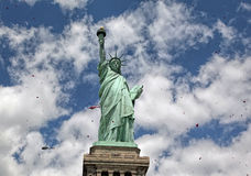 Statue Of Liberty Showered With Rose Pedals Stock Images