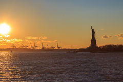 Statue of liberty silhouette. Stock Images