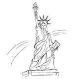 Statue of liberty in sketch style on white background, vector Royalty Free Stock Photo