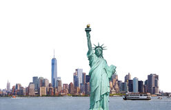 Statue of Liberty, Skyline of New York City isolated on white ba Royalty Free Stock Photos