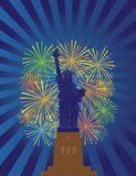 Statue of Liberty Fireworks Night vector Illustration Royalty Free Stock Image