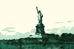 Statue of Liberty. Comic book cartoon style royalty free stock image