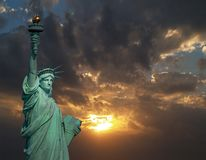 The Statue of Liberty at sunrise stock images