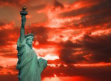 The Statue of Liberty at sunrise royalty free stock photography