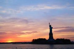 Statue of Liberty. At sunset Stock Photo
