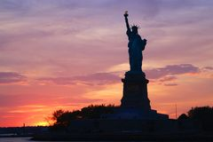 Statue of Liberty. At sunset Stock Photography