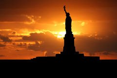 Statue of Liberty at sunset Royalty Free Stock Image