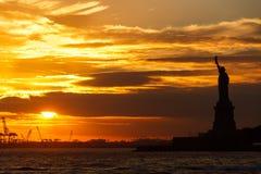 Statue of Liberty Sunset royalty free stock photo