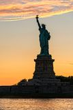 Statue Of Liberty Sunset Silhouette Royalty Free Stock Images