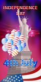 A statue of liberty on a sunset sky background. With america flag and balloons. Illustration for your design Royalty Free Stock Photo