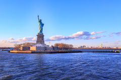Statue of Liberty. During sunset time Royalty Free Stock Photo