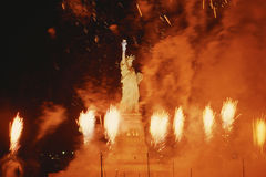 Statue of Liberty surrounded by fireworks Royalty Free Stock Image
