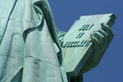 Statue of Liberty tablet. Statue of Liberty holding tablet viewed from the front stock image