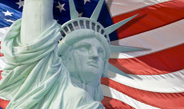 Statue of liberty with tear drop. And american flag background royalty free stock photography