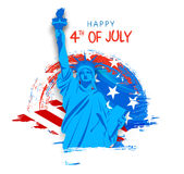 Statue of Liberty for 4th of July celebration. Creative Statue of Liberty on American Flag color background for 4th of July, Independence Day celebration Royalty Free Stock Images