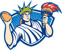 Statue of Liberty Throwing Football Ball Stock Photo
