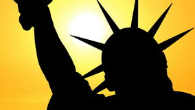 Statue of Liberty with Time Lapse Sunset. Statue of Liberty silhouette with time lapse sunset stock footage