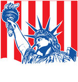 Statue of liberty with torch. On flag background Stock Photo