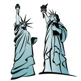 The Statue of Liberty 3. Two emblems with  black outline of Statue Of Liberty Stock Images