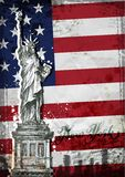 Statue of Liberty. United States flag Stock Photos