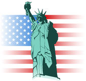 Statue of Liberty and US flag. Illustration of the Statue of Liberty Stock Photos