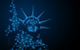 Statue of liberty USA. Abstract polygonal light of Statue of liberty USA. Business wireframe mesh spheres from flying debris. Independence Day 4th of July. Blue royalty free illustration