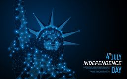 Statue of liberty USA. Abstract polygonal light of Statue of liberty USA. Business wireframe mesh spheres from flying debris. Independence Day 4th of July. Blue stock illustration