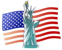 Statue of Liberty and USA flag Stock Photo