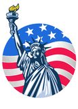 Statue of liberty with USA flag as background stock image