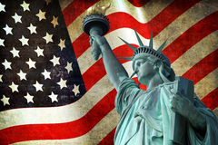 Statue of Liberty with USA flag Stock Images