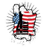 Statue of Liberty and USA flag in grunge style. Brush strokes a Royalty Free Stock Image