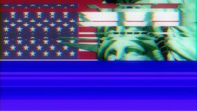 Statue of Liberty with usa flag on jumpy glitch old computer lcd led tube screen display seamless loop animation black stock footage