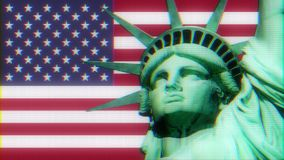 Statue of Liberty with usa flag on jumpy glitch old computer lcd led tube screen display seamless loop animation black stock video footage