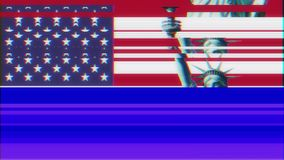 Statue of Liberty with usa flag on jumpy glitch old tube tv screen display seamless loop animation black background - stock video footage