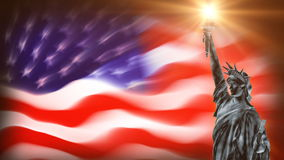 Statue of Liberty with USA flag waving, loop. Statue of Liberty with USA flag waving loop, video footage stock footage