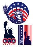 Statue of liberty USA. Illustration set Royalty Free Stock Image