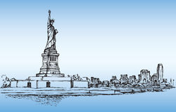 Statue of Liberty. Vector sketch Stock Photos