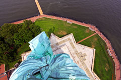 Statue of Liberty View. The view down onto the Statue of Liberty, photographed by reaching out through the open windows in the crown Stock Photos