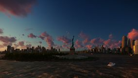 Statue of Liberty view from Ellis Island over Manhattan, New York City at sunset royalty free illustration