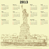 Statue of liberty vintage 2013 calendar. 2013 calendar with vintage hand drawn illustration of famous tourist destination statue of liberty new york city usa Stock Photography