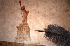 Statue of liberty on a vintage paper Royalty Free Stock Images